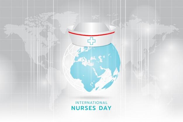 Internationaler tag der krankenschwester: erzeugte bildkrankenschwester-kappe auf dem cyanbild der erde von hellgrau und streifen, die sich schnell über hellgrauen weltkartenhintergrund bewegen.