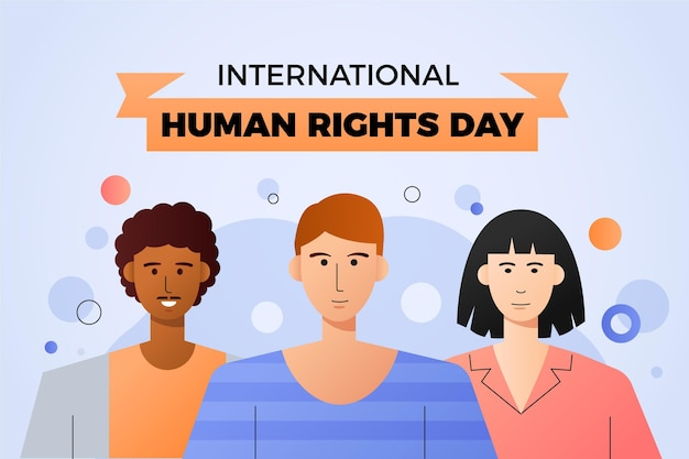 Internationaler tag der menschenrechte mit farbverlauf