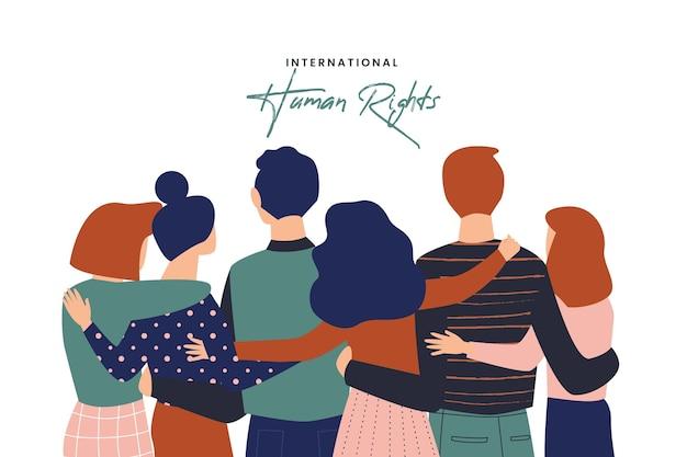 Internationaler tag der menschenrechte mit flachem design Premium Vektoren