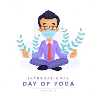 Internationaler tag der yoga-banner-design-vorlage