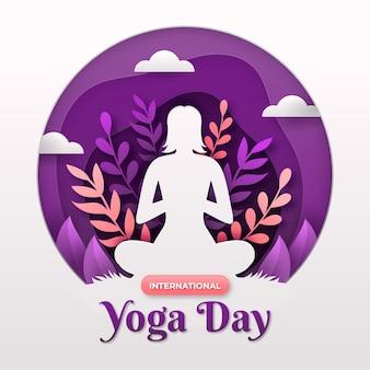 Internationaler tag der yoga-banner im papierstilkonzept