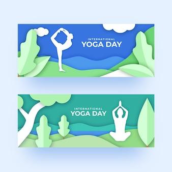 Internationaler tag der yoga-banner-vorlage