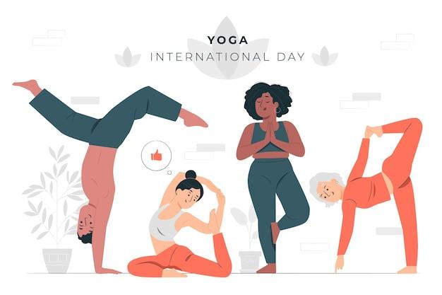 Internationaler tag der yoga-konzeptillustration