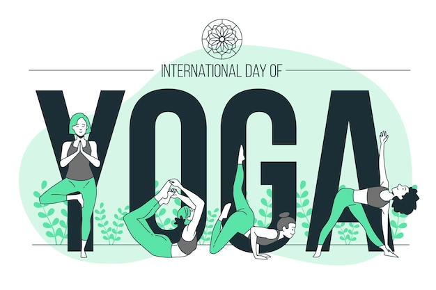 Internationaler tag der yoga-konzeptillustration