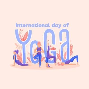 Internationaler tag der yoga-zeichnung illustriert