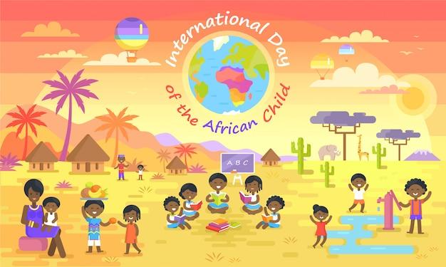 Internationaler tag des afrikanischen kindes auf farbplakat