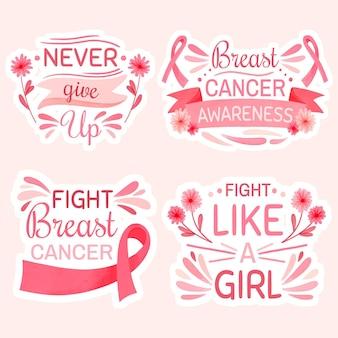 Internationaler tag des aquarells gegen brustkrebsbeschriftungsetikettensammlung