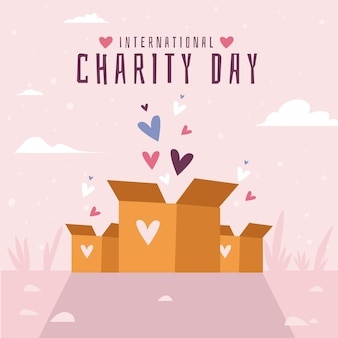 Internationaler tag des charity-hintergrunds des flachen designs