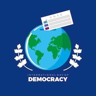 Internationaler tag des demokratievektors mit weltweiter abstimmungsdemokratieillustration. idee für poster, postkarte. banner, soziale medien