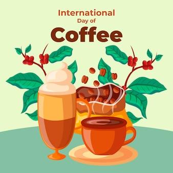Internationaler tag des flachen designhintergrunds des kaffees