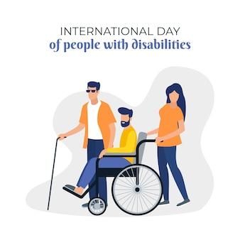 Internationaler tag des flachen designs von menschen mit behinderung