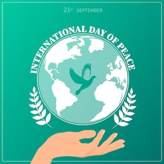 Internationaler tag des friedens. 21. september. flyer, banner, postkarte.