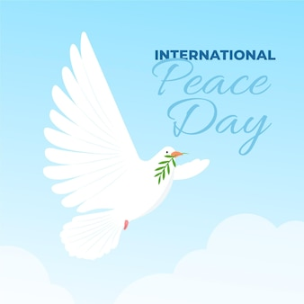 Internationaler tag des friedens mit taube am himmel