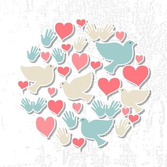Internationaler tag des friedens-vektor-illustration flaches design-stil tag des friedens-ikonen taubenherz