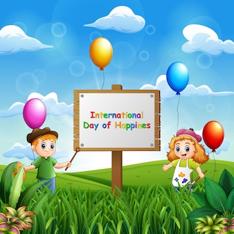 Internationaler tag des glücks hintergrund mit kindern malen