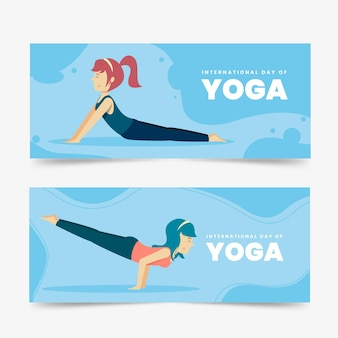 Internationaler tag des horizontalen yoga-banners