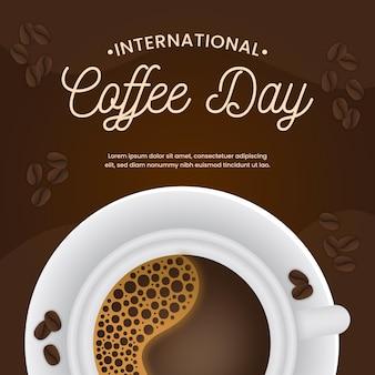 Internationaler tag des kaffees im flachen design