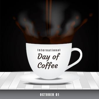Internationaler tag des kaffees mit spritzwasser und rauch