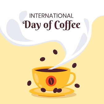 Internationaler tag des kaffees mit tasse