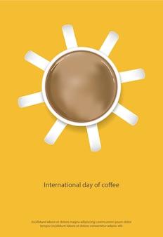 Internationaler tag des kaffees poster vector illustration