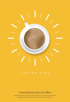 Internationaler tag des kaffees poster vector illustration