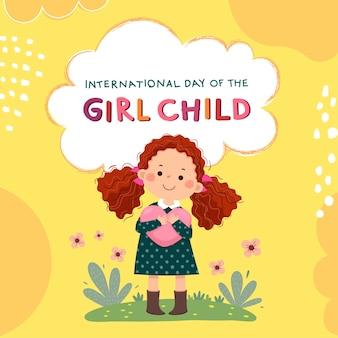 Internationaler tag des mädchenkinderhintergrundes mit dem kleinen mädchen des gelockten roten haares, das herz umarmt.