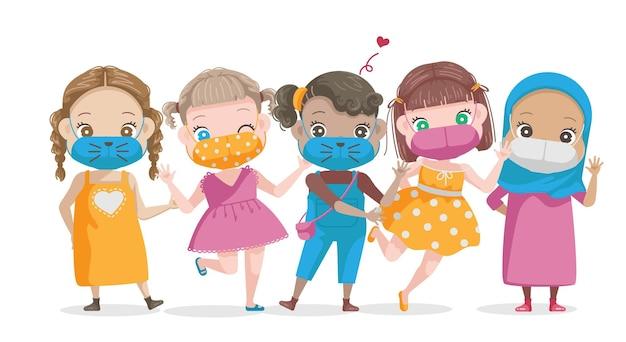 Internationaler tag des mädchenkindes kleine mädchen maskieren eine gruppe verschiedener nationalitäten und religionen