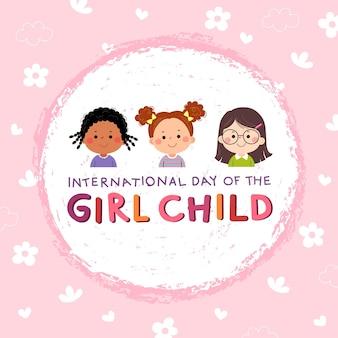 Internationaler tag des mädchenkindhintergrundes mit drei kleinen mädchen auf rosa hintergrund.