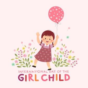 Internationaler tag des mädchenkindhintergrundes mit einem kleinen mädchen, das einen rosa ballon hält