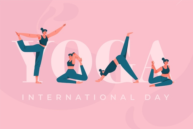 Internationaler tag des sportyoga des flachen designs