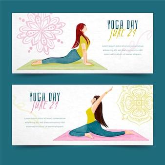 Internationaler tag des yoga-bannerdesigns