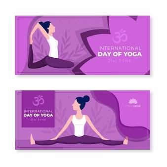 Internationaler tag des yoga-banners im flachen design