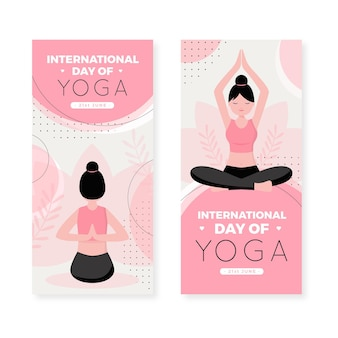 Internationaler tag des yoga-banners im flachen design