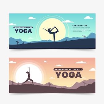 Internationaler tag des yoga-banners