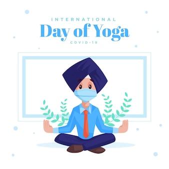 Internationaler tag des yoga covid 19 banner design vorlage