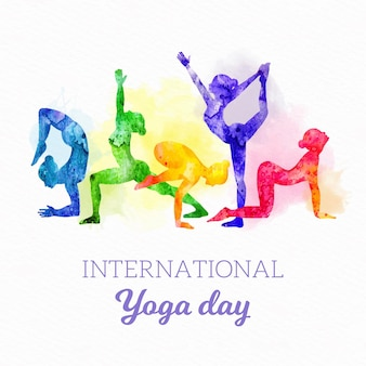 Internationaler tag des yoga des aquarells