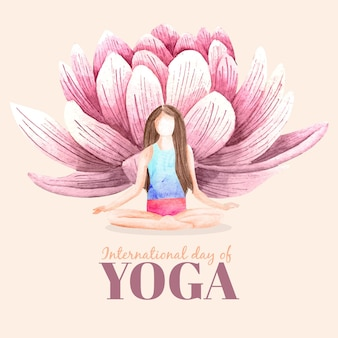 Internationaler tag des yoga des aquarells