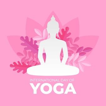 Internationaler tag des yoga des flachen designs