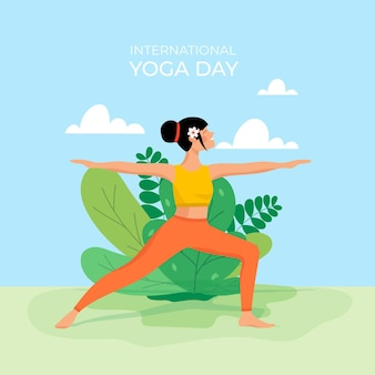 Internationaler tag des yoga des flachen designs