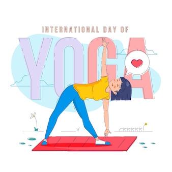Internationaler tag des yoga flat designs