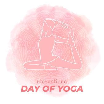 Internationaler tag des yoga gezeichnet