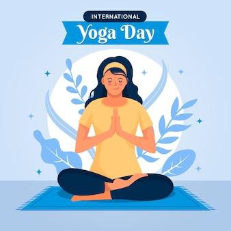 Internationaler tag des yoga-illustrationskonzepts
