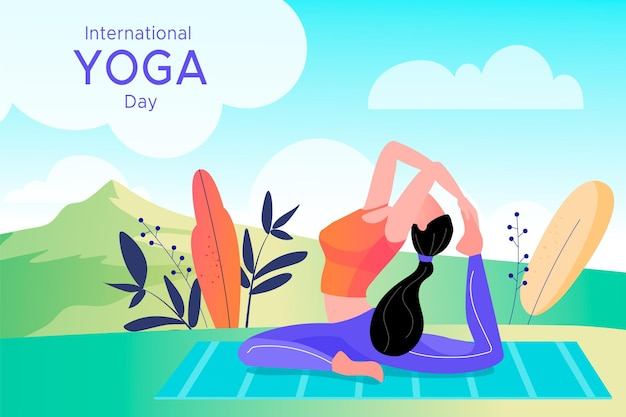Internationaler tag des yoga-illustrationsstils