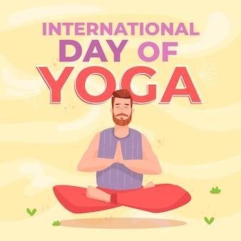 Internationaler tag des yoga illustrationsthemas