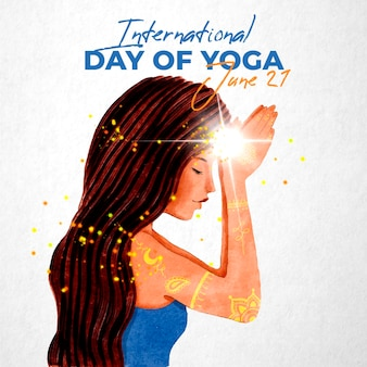 Internationaler tag des yoga illustriert Kostenlosen Vektoren