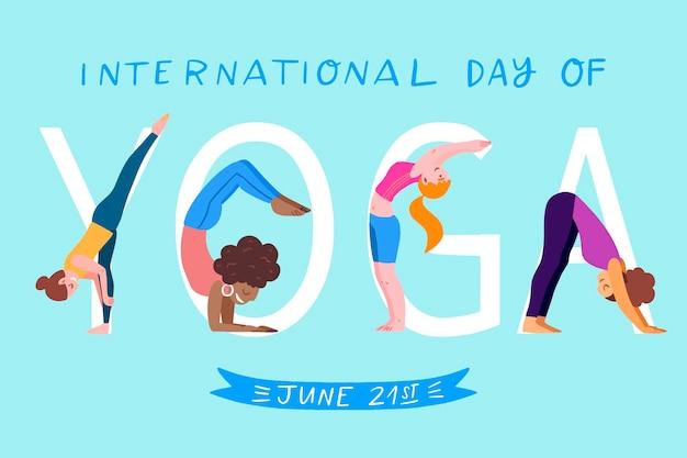 Internationaler tag des yoga illustriertes konzept