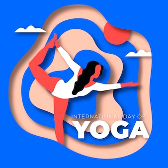 Internationaler tag des yoga im papierstil