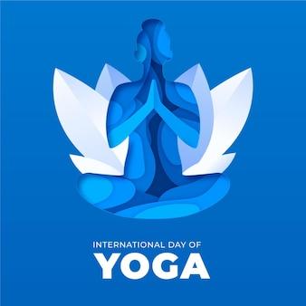 Internationaler tag des yoga im papierstil