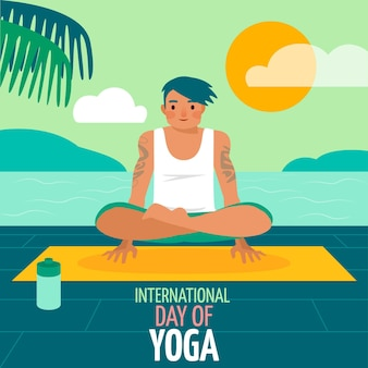 Internationaler tag des yoga-konzepts des flachen designs