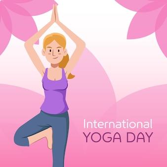 Internationaler tag des yoga mit blättern und frau